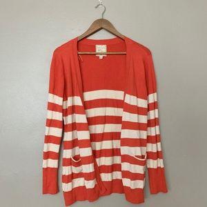 Pink Rose Orange Striped Cardigan XL